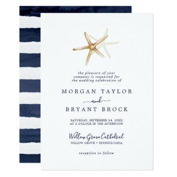 modern nautical | starfish formal wedding invitation