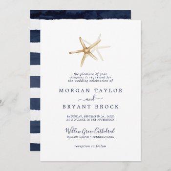 modern nautical | starfish formal wedding invitation