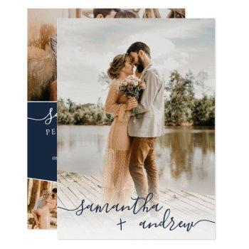 modern navy blue minimalist script photos wedding invitation