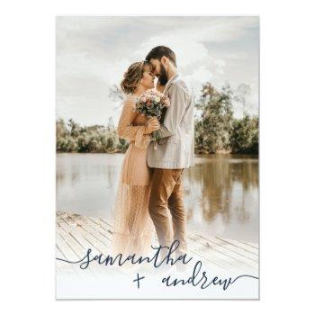 Small Modern Navy Blue Minimalist Script Photos Wedding Invitation Front View