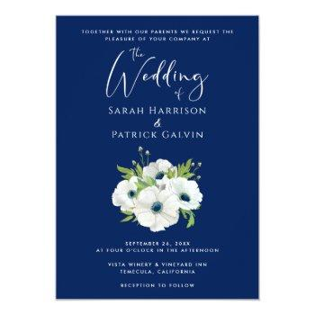 modern navy blue white floral watercolor wedding invitation