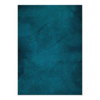 Small Modern Ocean Blue Ombre Watercolor Wedding Invitation Back View
