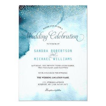modern ocean blue ombre watercolor wedding invitation