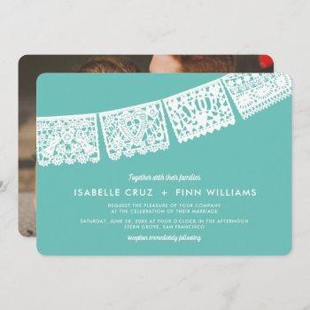 modern papel picado custom color + photo | wedding invitation