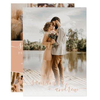 modern peach minimalist script 5 photos wedding invitation