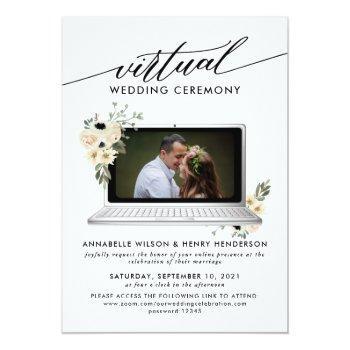 Small Modern Photo Virtual Wedding Ceremony Invitation Front View