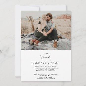 modern photo virtual wedding invitation card