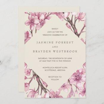 modern pink cherry blossom geometric wedding invitation