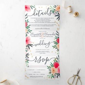 modern pink red green floral gold wedding tri-fold invitation