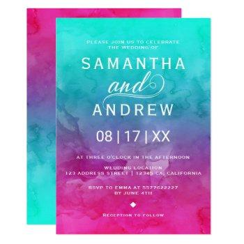 modern pink turquoise watercolor elegant wedding invitation