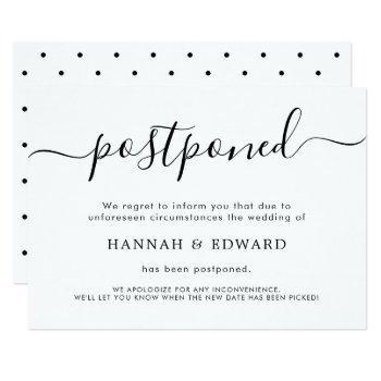 modern postponed wedding announcement card