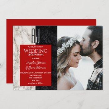modern red photo wedding invitation
