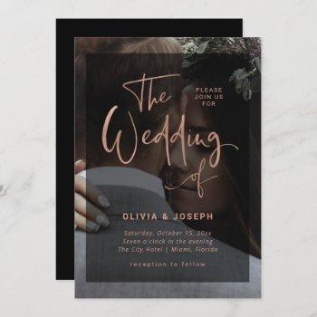 modern rose gold and black overlay | photo wedding invitation