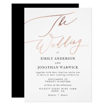 modern rose gold calligraphy wedding invitation