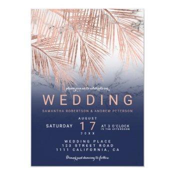 modern rose gold palm tree navy marble wedding invitation