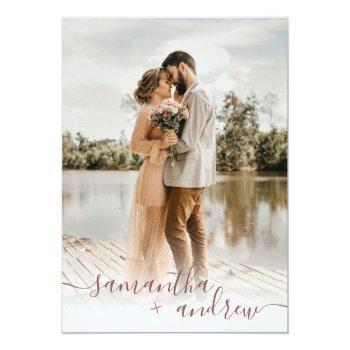 Small Modern Rose Minimalist Script 5 Photos Wedding Invitation Front View