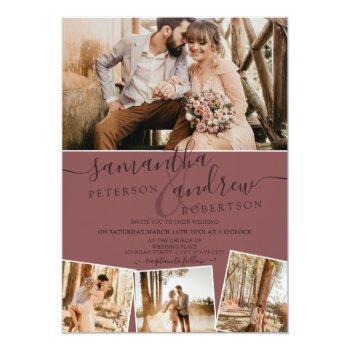 Small Modern Rose Minimalist Script 5 Photos Wedding Invitation Back View