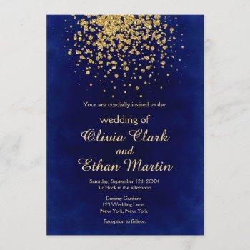 modern royal blue with gold confetti invitation