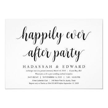 modern rustic cute black script, wedding elopement invitation