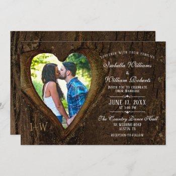 modern rustic tree heart photo wedding invitation