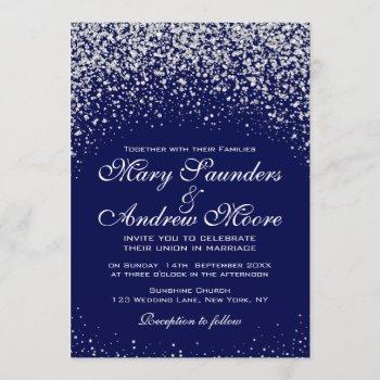 modern  silver confetti on royal blue invitation