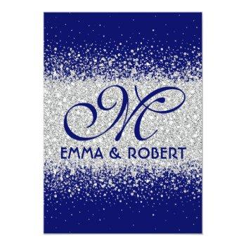 modern silver glitter on royal blue invitation