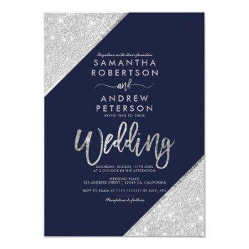 modern silver glitter typography navy blue wedding invitation