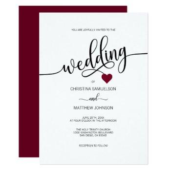 modern simple black, white burgundy heart wedding invitation