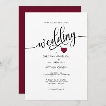 modern simple black, white burgundy heart wedding invitation