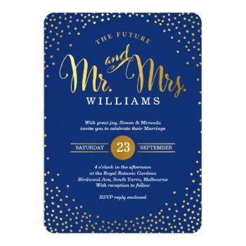modern stylish wedding gold confetti navy blue invitation