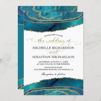 modern teal watercolor gold agate wedding invitation