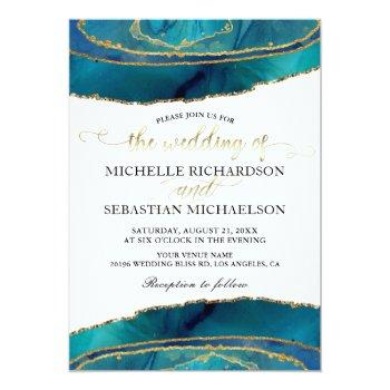 Small Modern Teal Watercolor Gold Agate Wedding Invitation Front View
