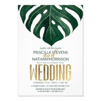 modern tropical swiss cheese leaf gold wedding invitation
