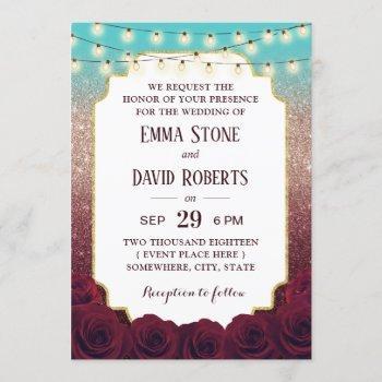 modern turquoise burgundy rose gold ombre wedding invitation