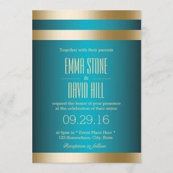modern turquoise gold stripes wedding invitations