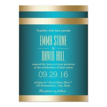 modern turquoise gold stripes wedding invitations