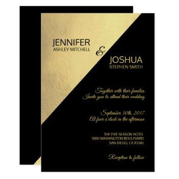 modern unique elegant black & gold foil wedding invitation