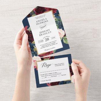 modern vintage navy burgundy blush floral wedding  all in one invitation