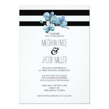 modern watercolor blue orchid flower wedding invitation