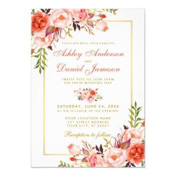 modern watercolor coral floral wedding gold w invitation