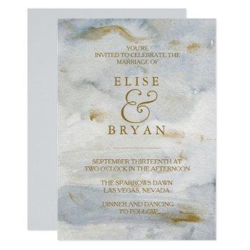 modern watercolor gold blue marble wedding invite