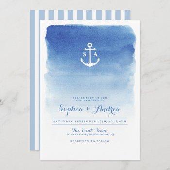 modern watercolor nautical anchor beach wedding invitation