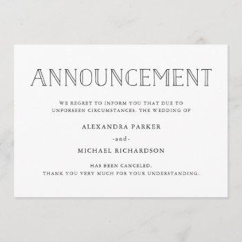modern wedding cancellation announcement