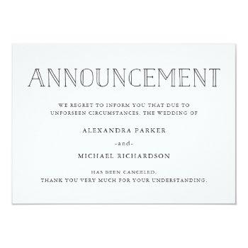 Small Modern Wedding Cancellation Announcement Front View