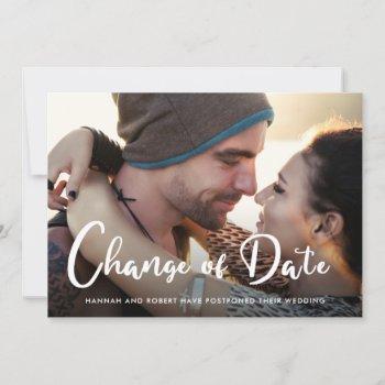 modern wedding postponement change of date photo announcement
