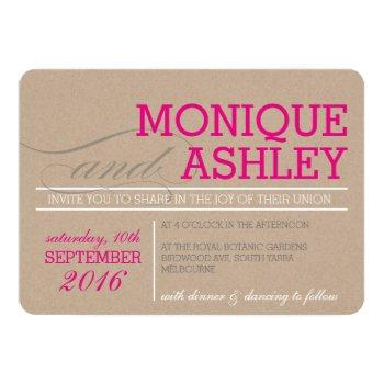modern wedding simple bold text pink kraft white invitation