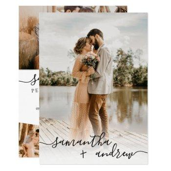 modern white minimalist script 5 photos wedding invitation