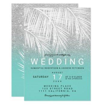 modern white palm tree silver turquoise wedding invitation