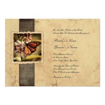 monarch butterfly vintage wedding invitations