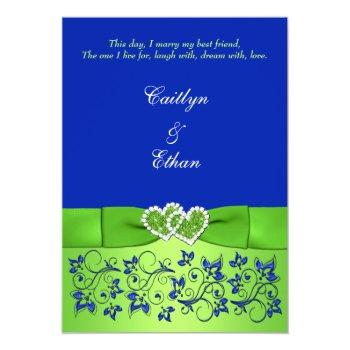 monogram blue, green floral, hearts wedding invite